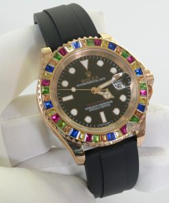 تقليد ساعة Rolex يخت ماستر إطار اسود بأرضية لون أسود للرجال مقاس 40
