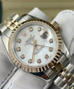 ساعة رولكس ديت جست بالتاريخ أرضيه لون أبيض للنساء مقاس 28