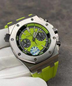 تقليد ساعة Audemars Piguet إطار اخضر بأرضية لون اخضر للرجال مقاس 42