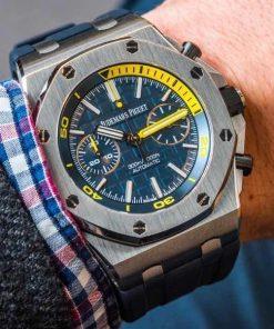 تقليد ساعة أوديمارز بياجيه إطار أزرق وأرضية بلون أزرق للرجال مقاس 42