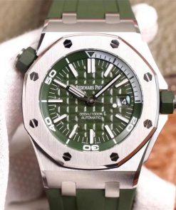 تقليد ساعة Audemars Piguet إطار وأرضية باللون الأخضر للرجال مقاس 42