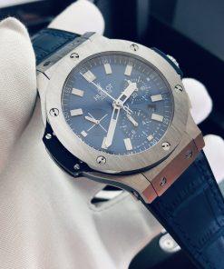 تقليد ساعة هوبلت بإطار أزرق وأرضية بلون أزرق للرجال مقاس 44
